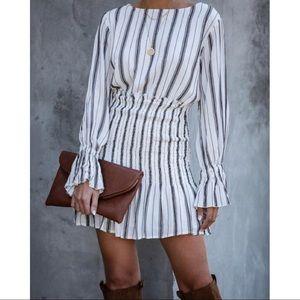 VICI Friendsgiving striped smocked dress